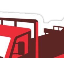 truck mounted crane cartage hoist retro Sticker