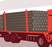logging truck and trailer retro style Sticker