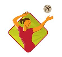 Volleyball Player Spike Ball Retro by retrovectors