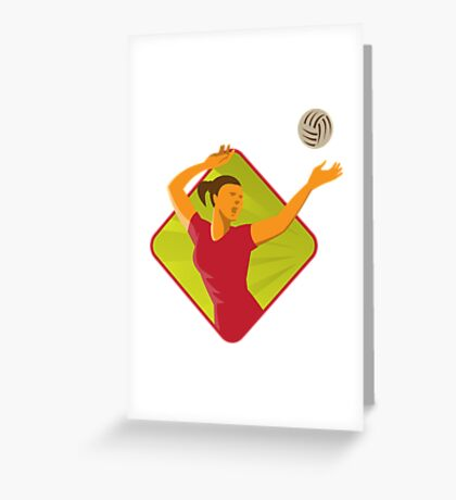 Volleyball Player Spike Ball Retro Greeting Card