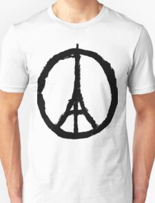 EIFFEL TOWER PEACE SIGN PRAY FOR PARIS Unisex T-Shirt