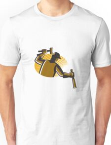 carpenter worker with hammer and chisel Unisex T-Shirt