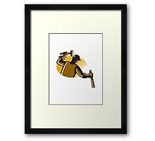 carpenter worker with hammer and chisel Framed Print