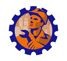 construction worker mechanic spanner retro by retrovectors