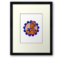 construction worker mechanic spanner retro Framed Print