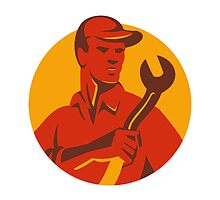 mechanic tradesman worker with spanner retro by retrovectors