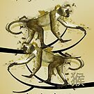 Chinese New Year,Sketch And Watercolor Drip Monkeys, Chinese New Year by Moonlake