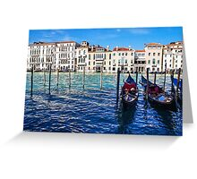 Your Romantic Ride Awaits - Traditional Venetian Gondolas on Grand Canal in Venice, Italy Greeting Card