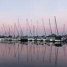 Marina in Pink - Peaceful Boat Reflections by Georgia Mizuleva
