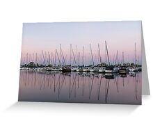 Marina in Pink - Peaceful Boat Reflections Greeting Card
