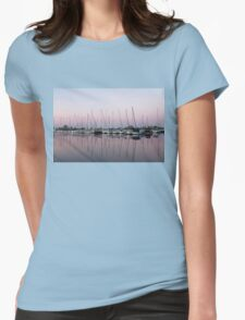 Marina in Pink - Peaceful Boat Reflections Womens Fitted T-Shirt
