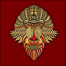 Monkey Mask Chinese New Year, In Golds And Red  by Moonlake