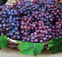 Basket of red grapes...... by DonnaMoore