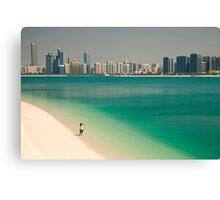 beach and skyline of Abu Dhabi Canvas Print