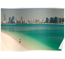 beach and skyline of Abu Dhabi Poster