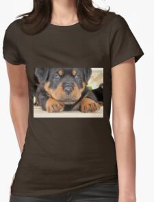 Cute Rottweiler Puppy With Blue Eyes Womens Fitted T-Shirt