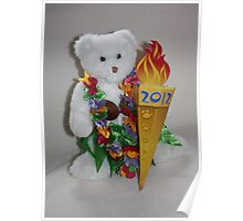 Teddy with Olympic Flame Poster