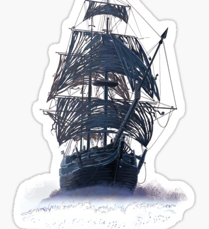 Ghost Pirate Ship at Night Sticker