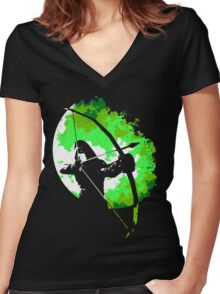 He walks at night... (Green) Women's Fitted V-Neck T-Shirt