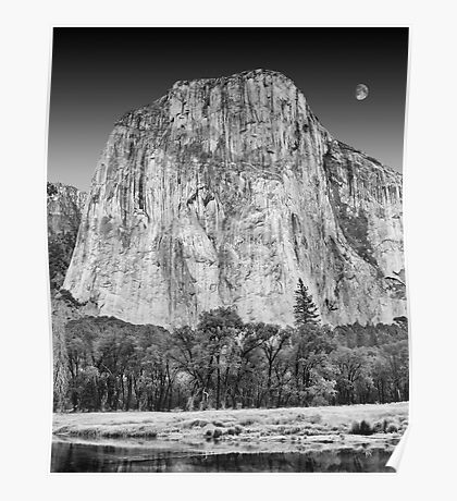 Moon over El Capitan, Yosemite National Park, California Poster