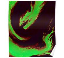 Flame- Green Dragon on Black Poster