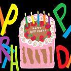 Happy Birthday, on a Black Background by Jana Gilmore