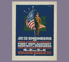 Join the engineers and make American history First replacement regiment of engineers Kids Tee