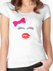 Eye lashes, kiss and hair bow. Women's Fitted Scoop T-Shirt