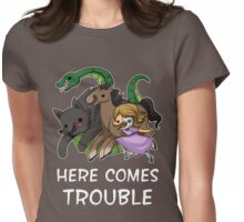 Here Comes Trouble (Text Version) Womens Fitted T-Shirt
