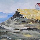 """detail """"Alone By The Sea"""" oil painting SATURNA ISLAND  by TerrillWelch"""