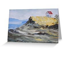 """detail """"Alone By The Sea"""" oil painting SATURNA ISLAND  Greeting Card"""
