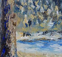"detail ""Fir Tree Pond"" oil painting MAYNE ISLAND  by TerrillWelch"