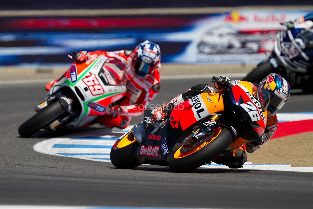 Dani Pedrosa and Nicky Hayden at laguna seca 2012 by corsefoto