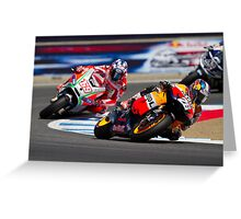 Dani Pedrosa and Nicky Hayden at laguna seca 2012 Greeting Card