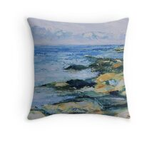 """detail """"The Sea To Me"""" oil painting SATURNA ISLAND  Throw Pillow"""
