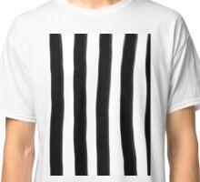 Black and White Paintbrush Stripes Classic T-Shirt