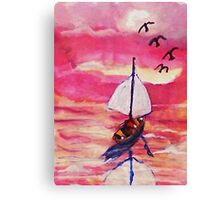 Pink sunset  #1, revised, watercolor Canvas Print