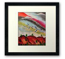 Flying thru a rainbow, watercolor Framed Print