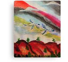Flying thru a rainbow, watercolor Canvas Print