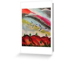 Flying thru a rainbow, watercolor Greeting Card