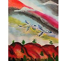 Flying thru a rainbow, watercolor Photographic Print