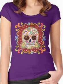 Colorful Day of the Dead Sugar Skull Shirt Women's Fitted Scoop T-Shirt