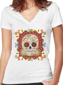 Colorful Day of the Dead Sugar Skull Shirt Women's Fitted V-Neck T-Shirt