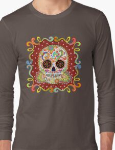 Colorful Day of the Dead Sugar Skull Shirt Long Sleeve T-Shirt