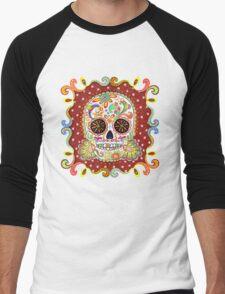 Colorful Day of the Dead Sugar Skull Shirt Men's Baseball ¾ T-Shirt
