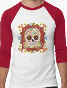 Colorful Day of the Dead Sugar Skull Shirt Men's Baseball ¾ T-Shirt