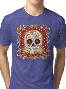 Colorful Day of the Dead Sugar Skull Shirt Tri-blend T-Shirt