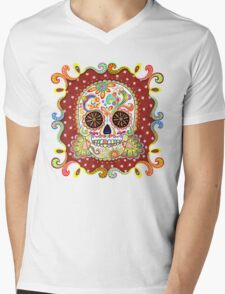 Colorful Day of the Dead Sugar Skull Shirt Mens V-Neck T-Shirt