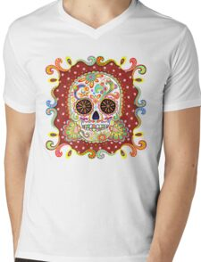 Colorful Day of the Dead Sugar Skull Shirt Mens V-Neck T-Shirt
