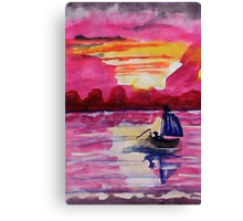 Pink sunset #2, watercolor Canvas Print
